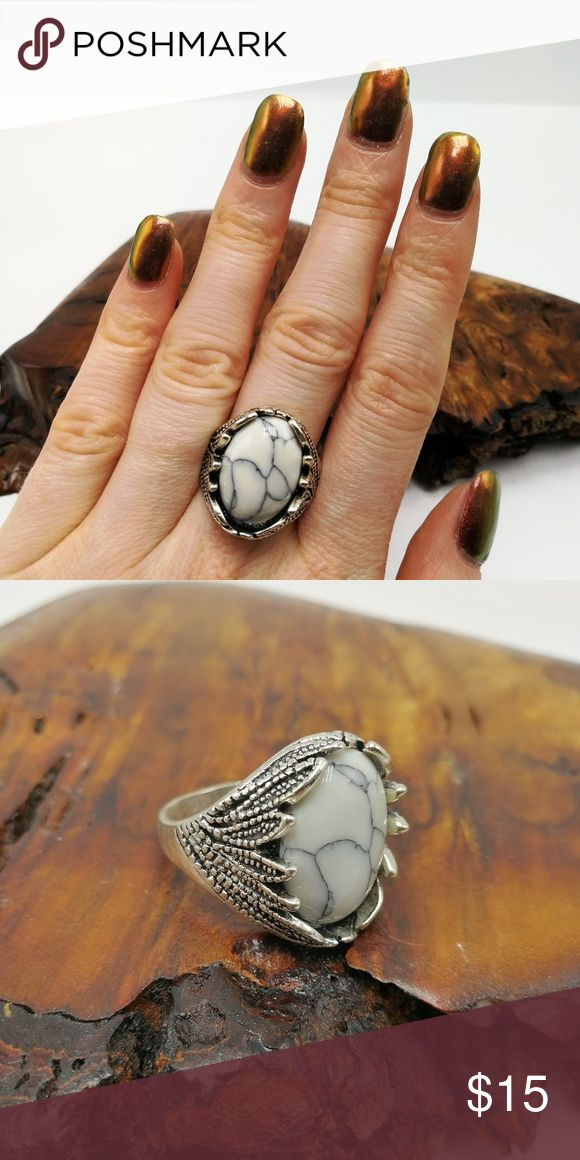 White Turquoise Howlite New with Tags. Gorgeous Natural Gemstone Buffalo Turquoise howlite Tibet Silver ring. Mixed Metals. Lead & Nickel free. No trades or holds. Price is firm. Bundle to SAVE. R#2875 PLUS SIZE Jewelry Rings
