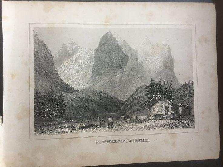 Annons på Tradera: Wetterhorn Rosenla Antik Etsning Topografisk Plansch 1840 Das kleine Universum