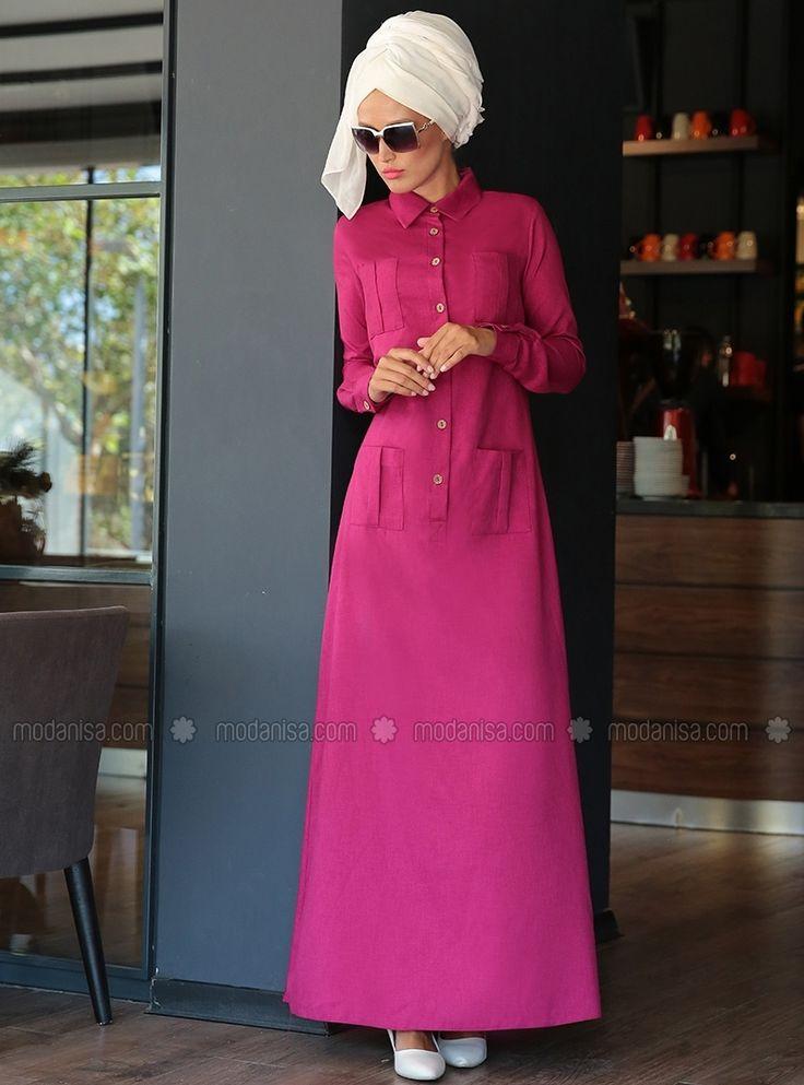 Düğmeli Spor Elbise - Fuşya - Selma Sarı Design