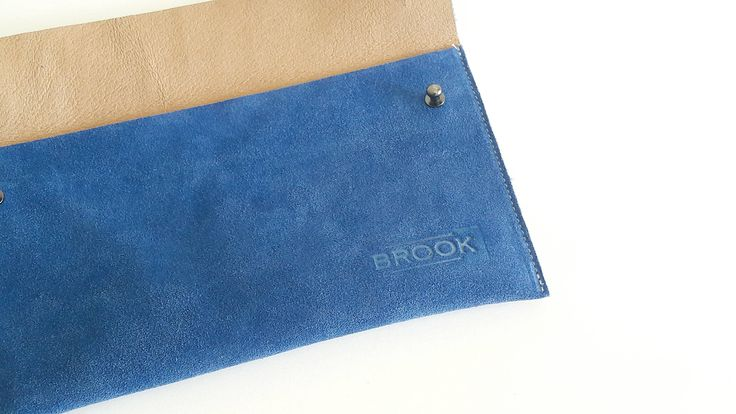 Leather Purse, Suede Clutch, Blue, Handbag, Handmade by Brookleathergoods on Etsy