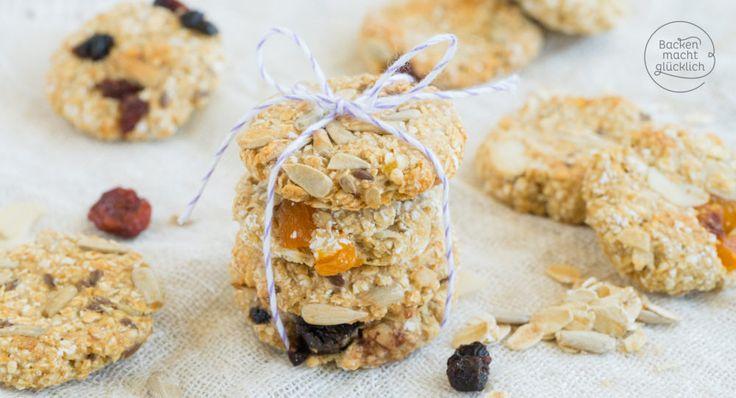 Superlecker, blitzschnell zubereitet und noch dazu gesund: Diese fettarmen, veganen Müsli-Cookies sind echte Nervennahrung für Klein und Groß!