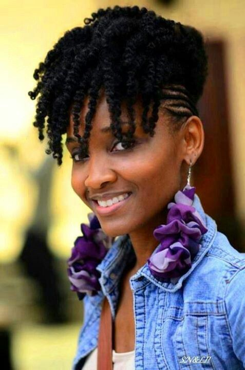 Twist out bang updo