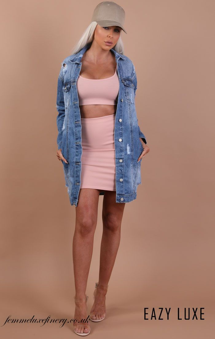 BLUE DISTRESSED OVERSIZED LONGLINE DENIM JACKET – MADISON - femmeluxefinery   #BLUE #DISTRESSED #oversized #longline  #cheap #fashion #clothing #dress #uk #femmeluxe #femmeluxefinery