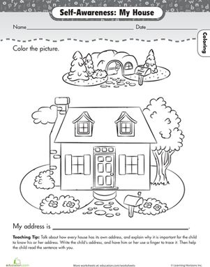about me my house preschool worksheets - School Worksheets For Preschoolers