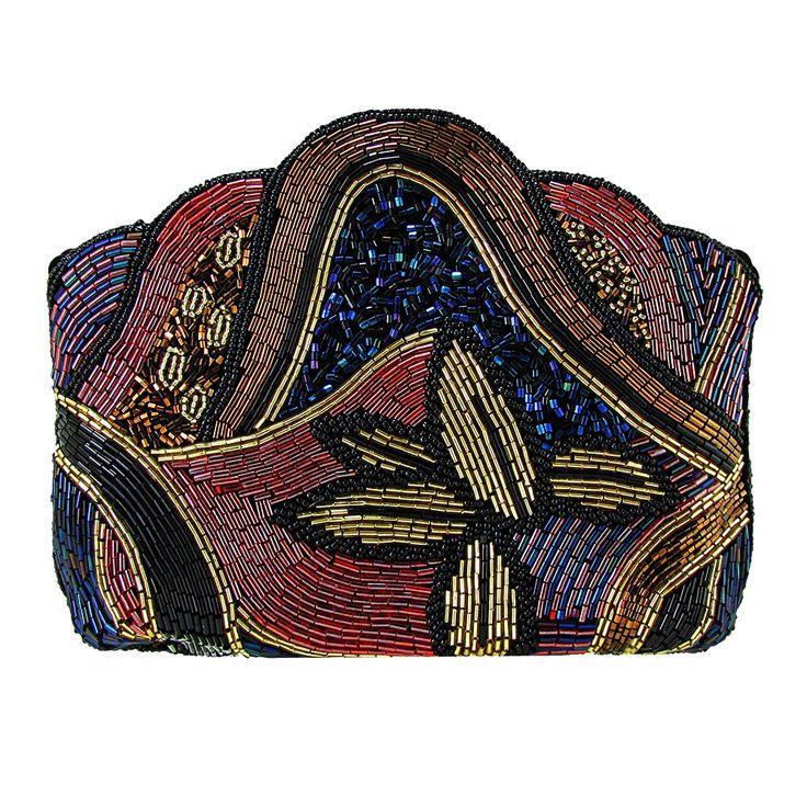 On The Fringe Art-Deco Beaded Evening Clutch Handbag IKI-18
