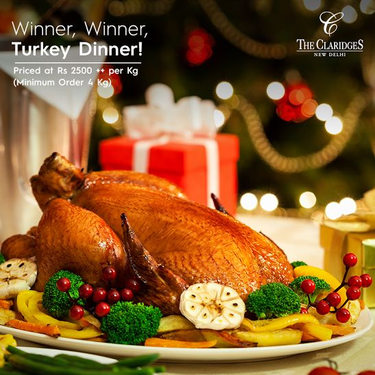This Thanksgiving, show your gratitude for the good things in life! Relish the Turkey Hamper from The Claridges - complete with Roast Turkey, Sauteed Vegetables, Mashed Potatoes, Pumpkin Pie and other delicious accompaniments. Call +91 11 3955 5000 and book your order 36 hours in advance!