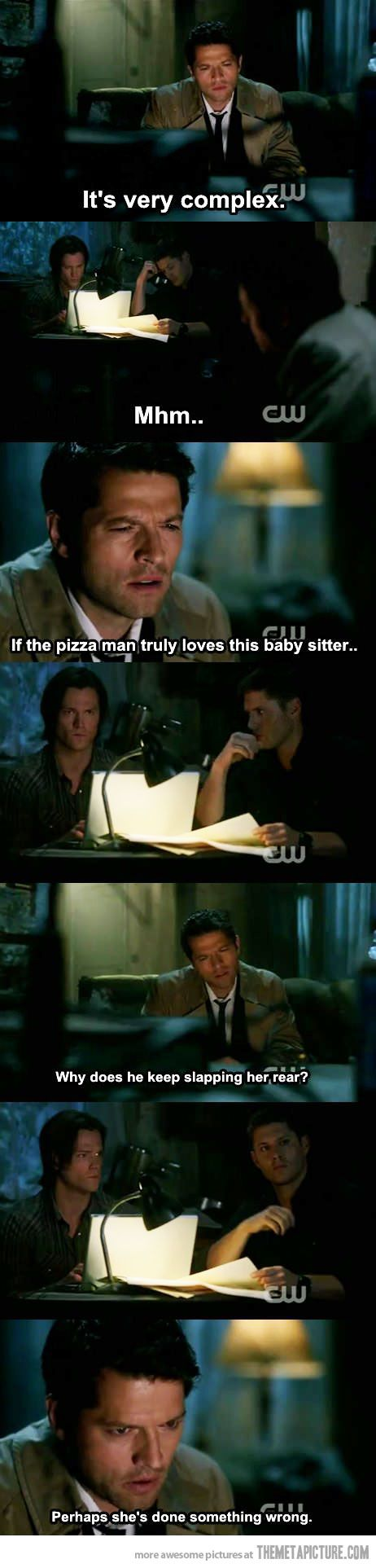 One of my favorite scenes with Castiel in Supernatural :D I'd be the babysitter to his pizza man anytime LOL I might have pinned this already but it's too hilarious