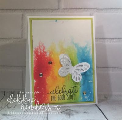 Stampin' Up! Butterfly Dies and the Ink Re-Inker Spritzed Background Technique. Debbie Henderson, Debbie's Designs #stampinup #technique #inkreinkerspritzedbackground #debbiehenderson #debbiesdesigns #stampinup
