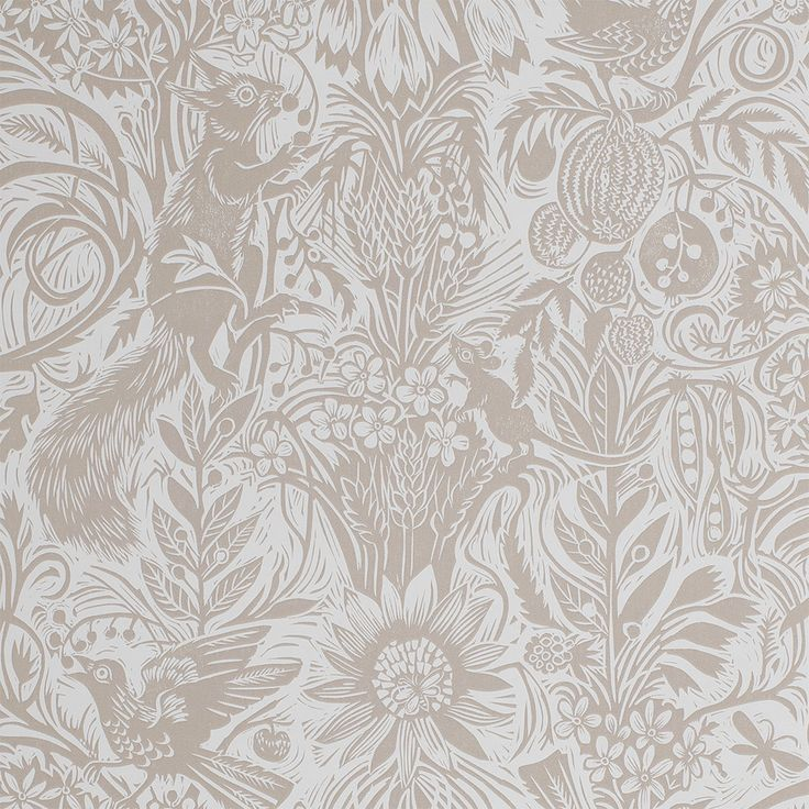 Mark Hearld - wallpaper - Squirrel and Sunflower - Clay Bisque