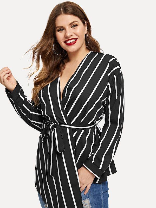 165b459d5f7 Plus Waist Belted Striped Blouse -SHEIN(SHEINSIDE)