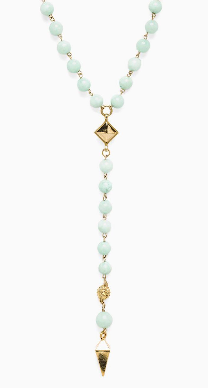 Ettika Rosary Necklace with Pyramids & Spikes in Mint