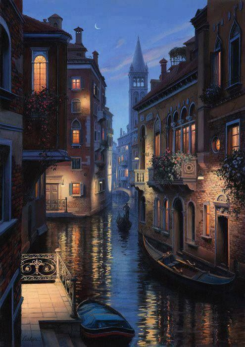 Romantic Drawing Venice At Night Beautiful Places
