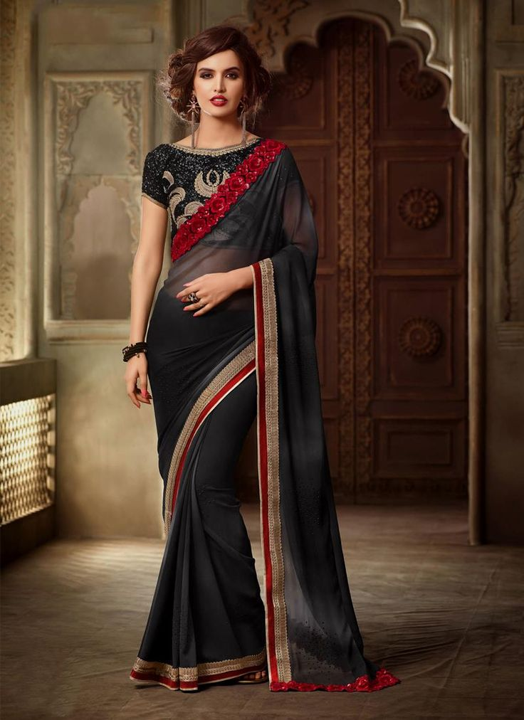 Sarees online shopping and check latest collection in silk sarees at india's best online shopping store. Buy this majesty georgette classic designer saree.