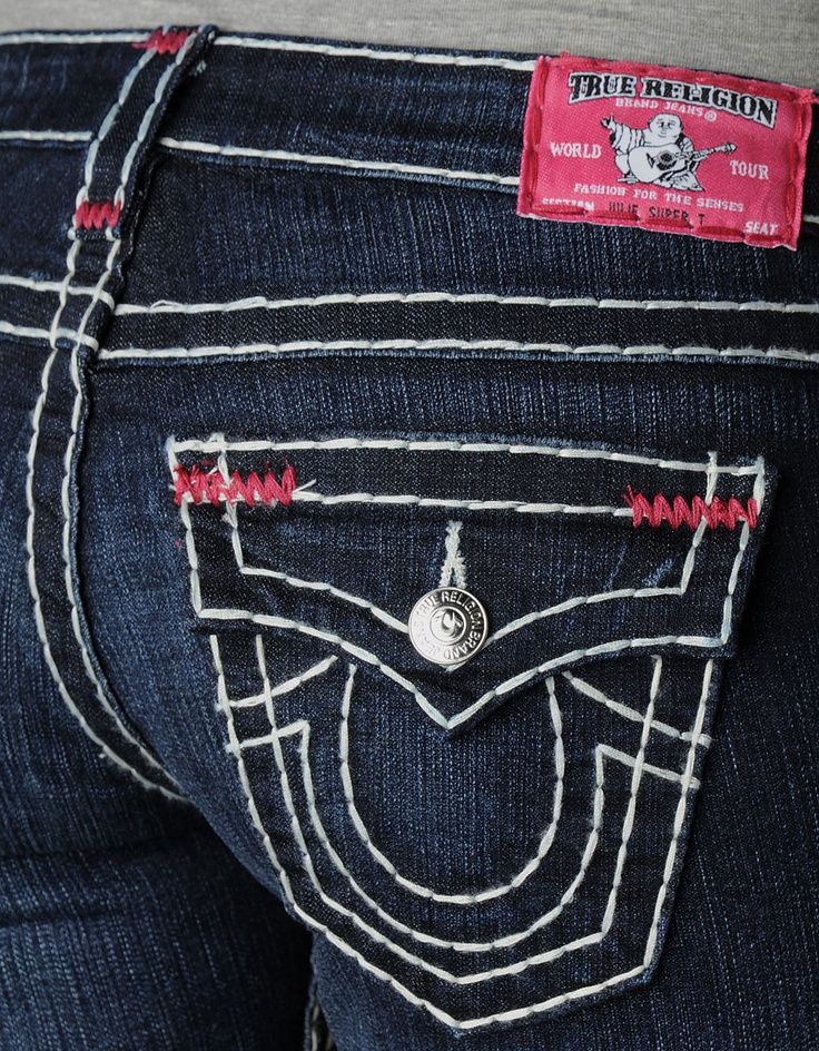 Womens Julie Natural Super T W/ Fuchsia Bartacks Jean - (Lonestar) | True Religion Brand Jeans