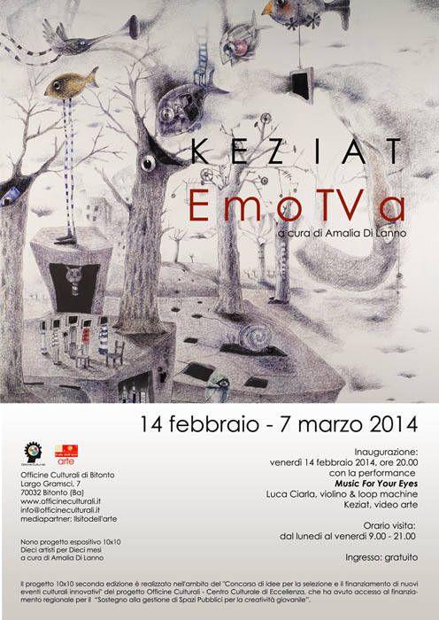 La #mostra EmoTVa di #KeziaT. Artista pugliese Kezia Terracciano nell'ambito del progetto culturale 10x10 a cura di Amalia Di Lanno il 14 febbraio 2014 #Bitonto (Ba)