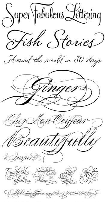 Fish Stories is Montague Script; Ginger is Burgues Script and the one along the bottom is Adios Script. Super Fabulous is Feel Script. Zaner Font