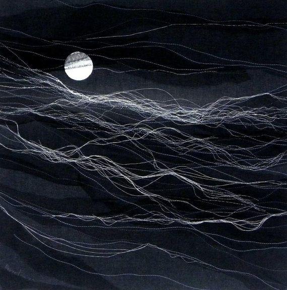 Night Sea - Textile Art - Nautical Art, abstract sea landscape, minimalist art, contemporary art, wall decor, modern black interior