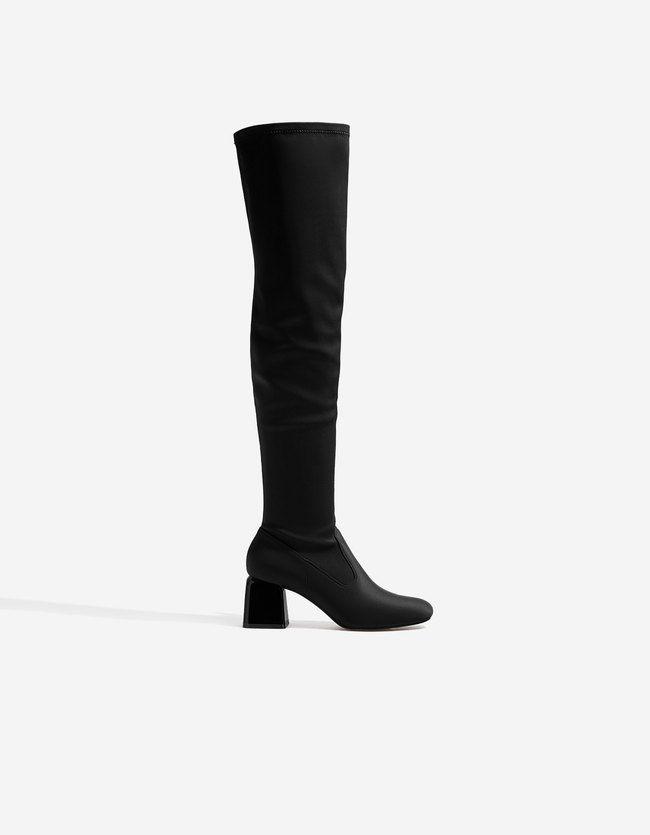 Absatzstiefel Aus Satin Schwarz Jetzt Bestellen Unter Https Mode Ladendirekt De Damen Schuhe Stiefeletten Sonstige S Stiefeletten Absatzstiefel Schuhe Damen