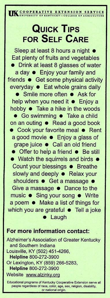 Self care tips courtesy of the Alzheimer's Association's Kentucky chapter. #Self-care #Burnout prevention
