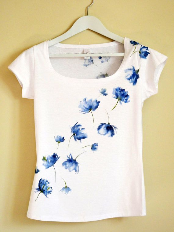 Blue Hand Painted MYgarden Flowers T-shirt. Christeesandtops