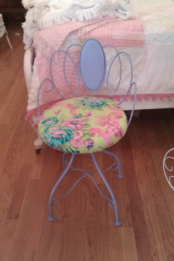 Vintage Vanity Shabby Bench Stool Chic Chair Lavender Purple Lime Green Swivel Metal Cottage Make Up Bath