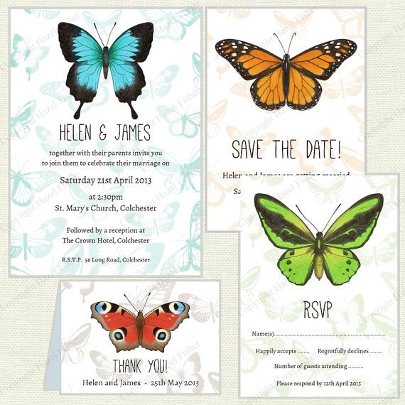 Butterfly Wedding Stationery set  printables by hfcSupplies on Etsy. Invitation, Save the Date, RSVP and Thank you cards. #ButterflyWedding #PrintableWedding #ButterflyInvite
