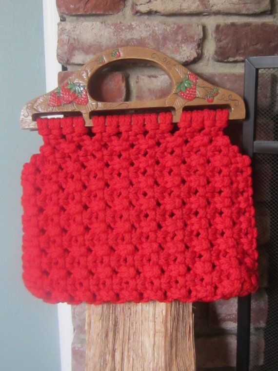 Vintage Macrame Red Strawberry Bermuda Bag Boho Chic