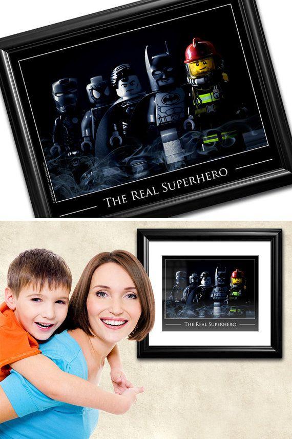 Firefighter Gift for Firemen Fireman Gift Idea by SillyBrickPics