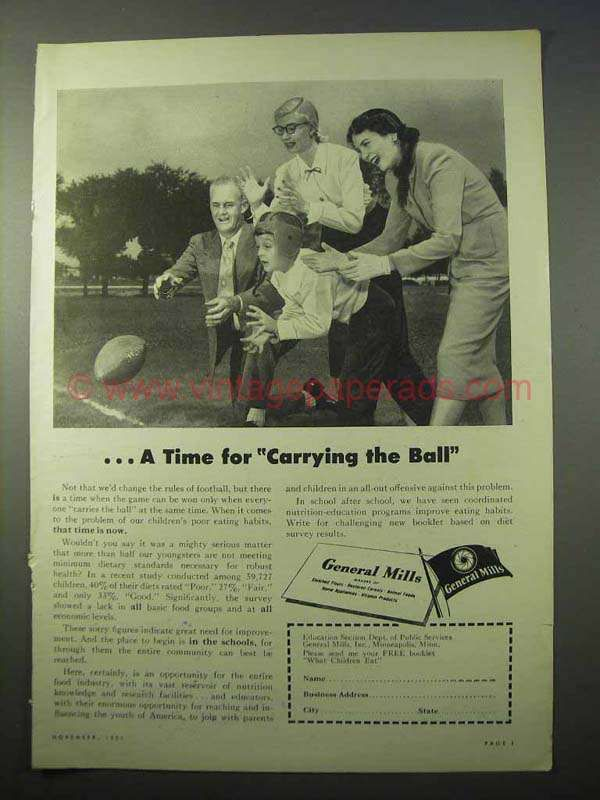 1951 General Mills Ad - A Time for Carrying the Ball