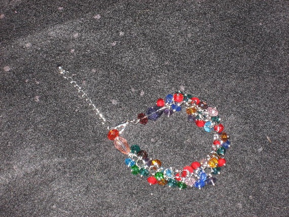 Multi Colored Crystal Bracelet with adjustable chain by cthorses66, $10.00