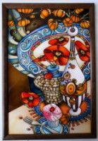 """Gallery.ru / """"Натюрморт с маками"""", стекло 30*45 см, деревянная - Картины - enehi"""