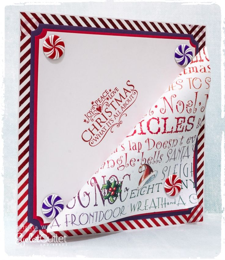 A Peppermint Holiday! An Eyelet Outlet Christmas Card #eyeletoutlet #christmas #christmascards #cards #papercrafts