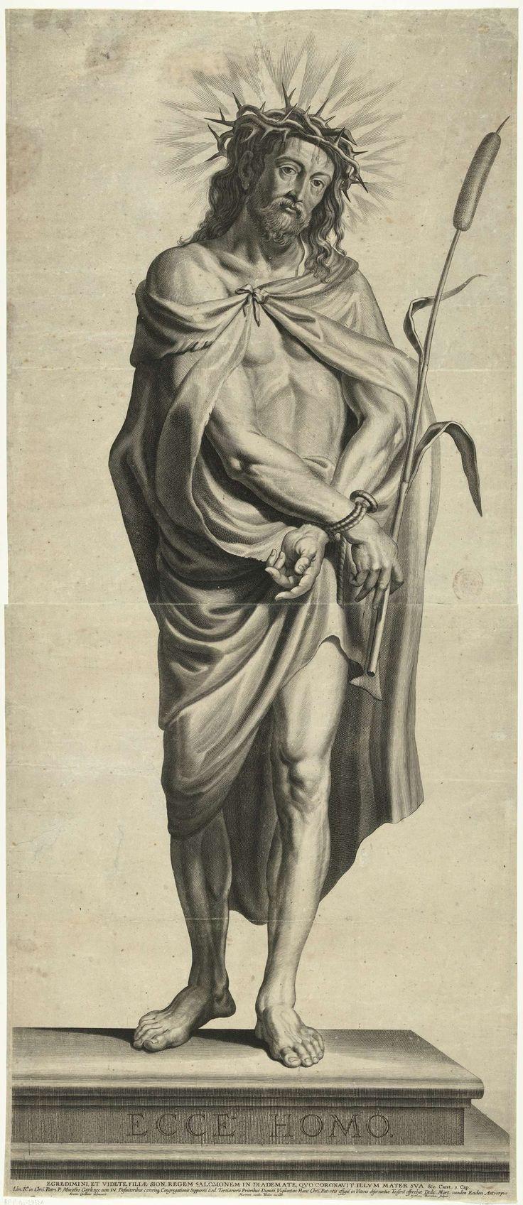 Mattheus Borrekens   Ecce Homo, Mattheus Borrekens, Martinus van den Enden, 1625 - 1670   Op de voorgrond van de prent staat de 'Ecce Homo', de gegeselde en met een doornenkroon gekroonde Christus. Christus staat op een verhoog waarop Ecce Homo staat geschreven. Hij draagt een gewaad en zijn handen zijn vastgebonden. In zijn rechterhand houdt hij een rietstengel vast als scepter. Hij huilt. De prent heeft een Latijns onderschrift.