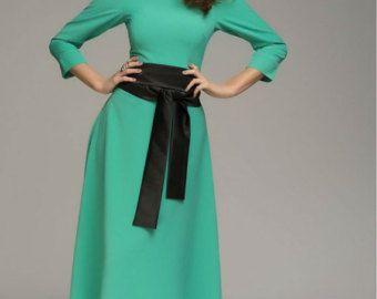 Wine Maxi Dress Formal elegant Dress with Belt. by FashionDress8