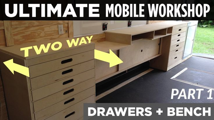 Possible 2 Way Drawer Solution For Pantry Ultimate Mobile Workshop Part 1 Two Way Cabinet Drawers Youtub Mobile Workshop Workshop Cabinets Locker Storage