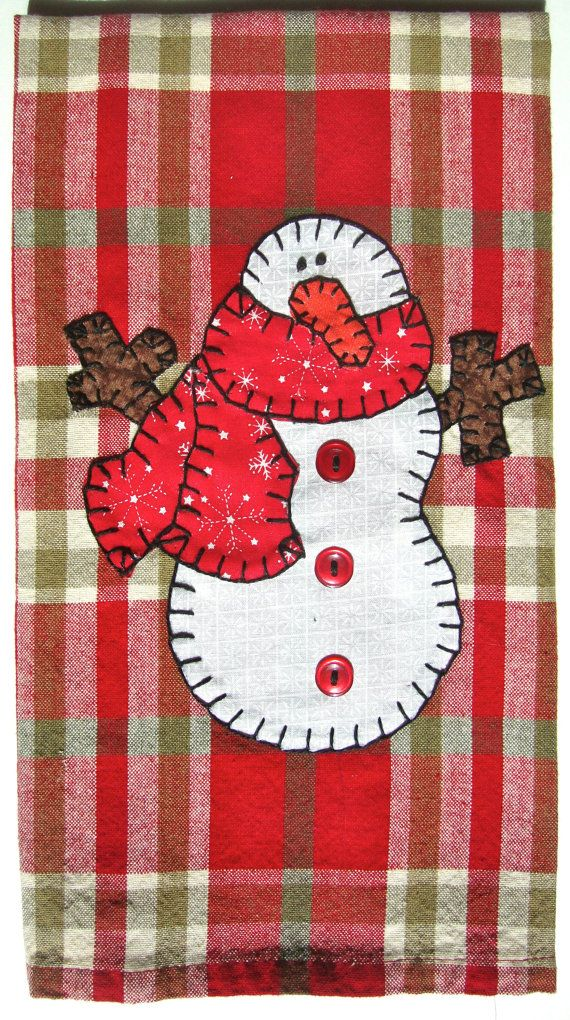 Snowman Applique, Kitchen Towel, Hand Towel, Dish Towel, Tea Towel