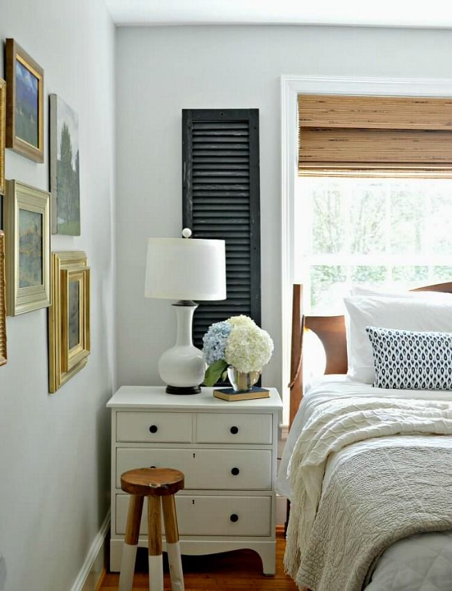Genius old wood shutter Idea! Add them to the windows in a master bedroom window.