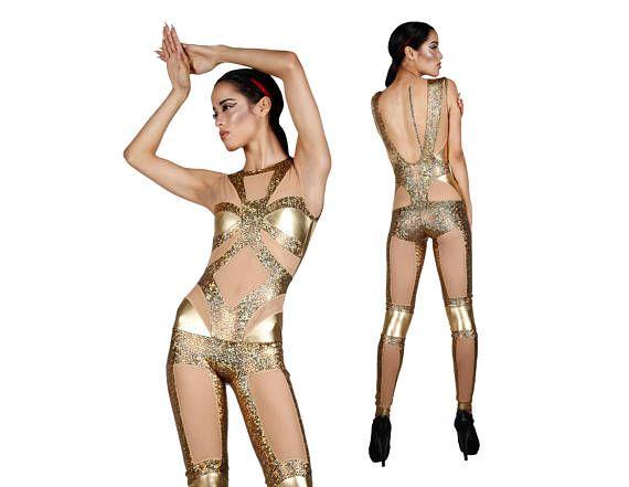 Gold Spandex Catsuit Holographic Jumpsuit Futuristic