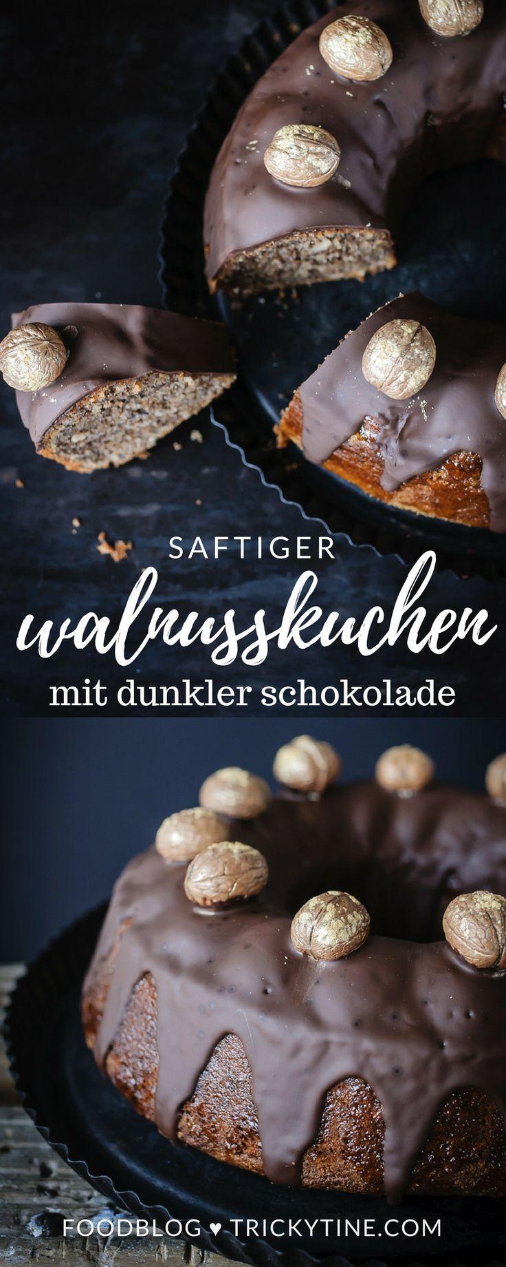 saftiger walnusskuchen mit aprikosenglasur und dunkler schokolade ♥ trickytine.com #cake #walnuts #chocolate #baking #trickytine #food #blog