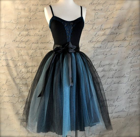 Black and tiffany blue aqua  tutu skirt for by TutusChicBoutique, $165.00