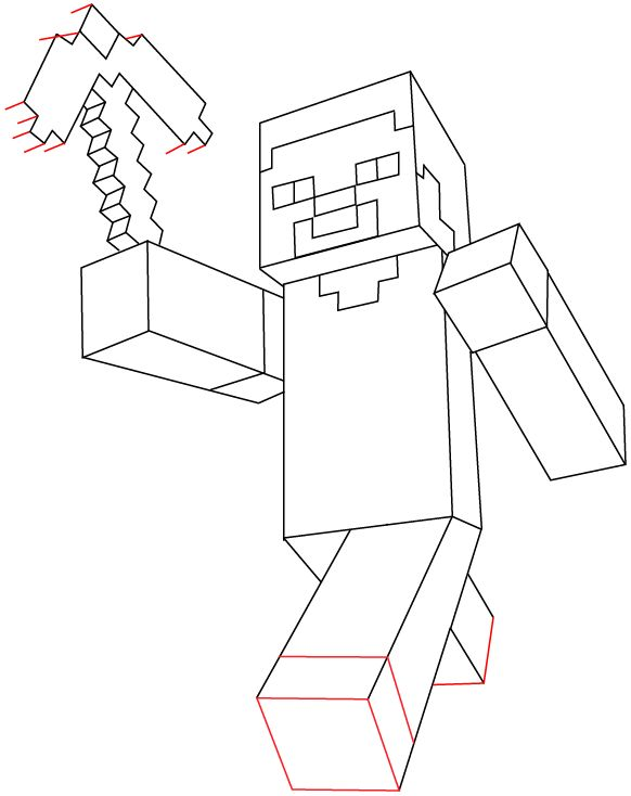 Step 11 : Drawing Steve Pickaxe from Lego Minecraft in Easy Steps Lesson