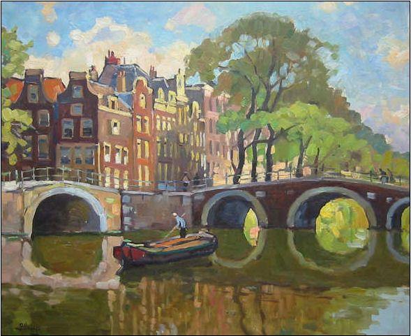 Ben Viegers. Oil on canvas. Brouwersgracht in Amsterdam