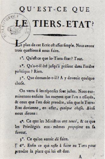 First page of Emmanuel Joseph Sieyès' pamphlet Qu'est ce que le Tiers Etat? (wikipedia)