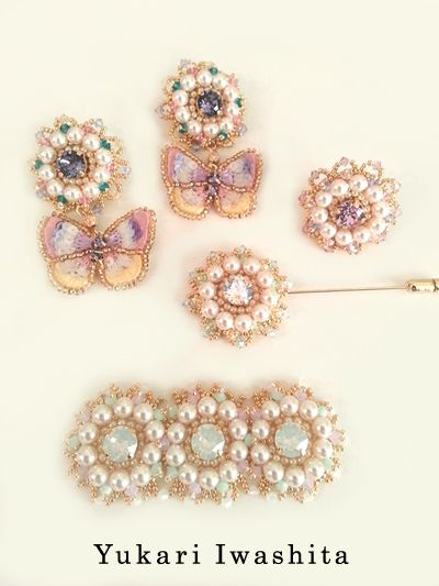 """bead embroidery accessories: """"petits papillons"""""""