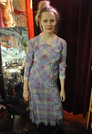 Amazing original VERY RARE 1920s checked dress