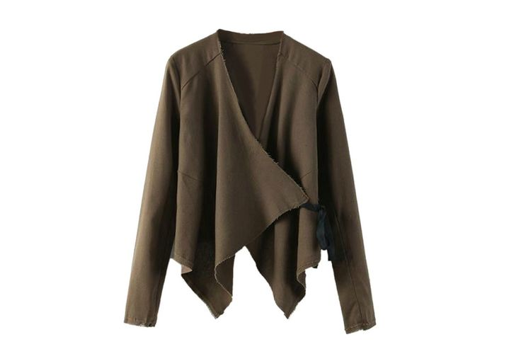 army green irregularity long sleeve blazer with tie   choies