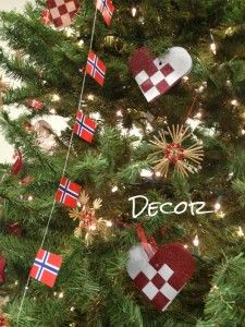 Norwegian Christmas. Grandpa E remembers making those woven decorations as a child.