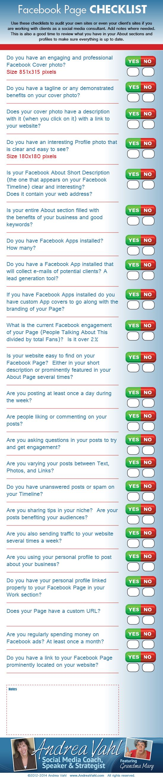 Facebook Page Checklist #Infographic