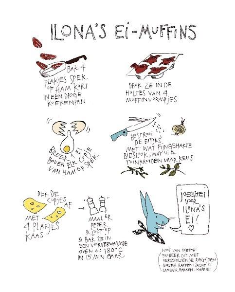 Lekkere ei-muffins getekend door Yvette van Boven. Libelle 13 - 2013