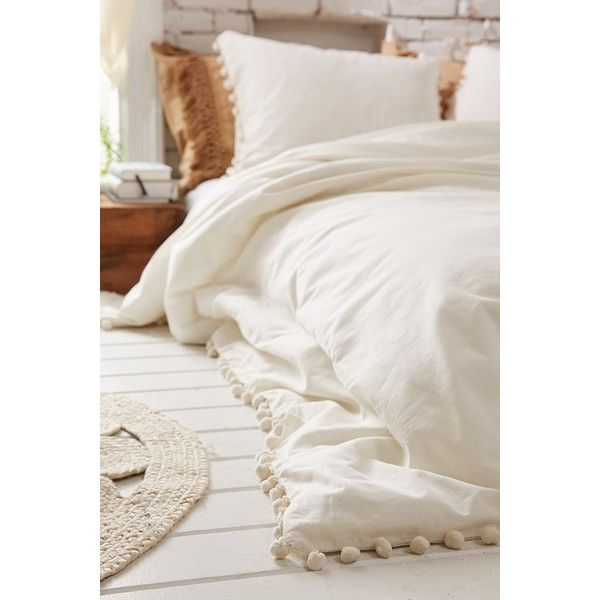 Magical Thinking Pom-Fringe Duvet Cover ($99) via Polyvore featuring home, bed & bath, bedding, duvet covers, cream bedding, pom pom bedding, cream colored bedding, beige bedding and ivory bedding